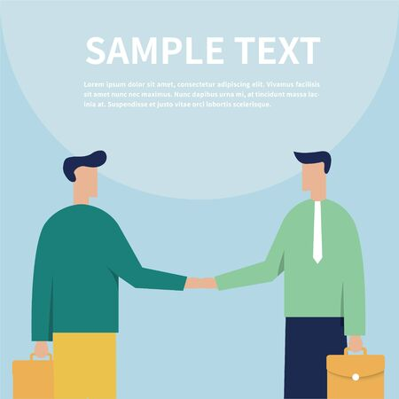 The concept of businessman or office workers - Businessman holding briefcase - Business people shaking hands - Vector illustration in flat style Ilustração
