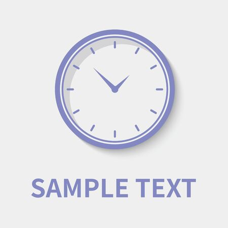 Clock icon in flat style - timer on gray background. Vector design element