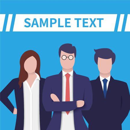 Business People Group Diverse Team. Business team concept. Project team. Employee group. Vector illustration flat design style. Symbol of teamwork, cooperation, partnership, confidence, success. Ilustração