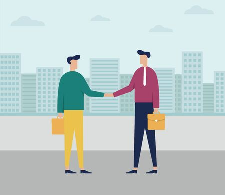 The concept of businessman or office workers - Businessman holding briefcase - skyline city office buildings - Business people shaking hands - Vector illustration in flat style Ilustração