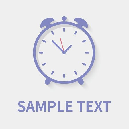 Alarm clock icon in flat style - timer on gray background. Vector design element