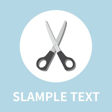 Scissors icon in flat style - On blue background. Vector design element Standard-Bild - 131976733
