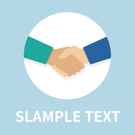 Handshake icon in flat style - On blue background. Vector design element