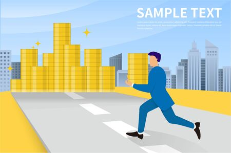 Business man with carrying a lot of money. A pile of dollars. Economic crime concept. Vector flat design illustration. business success, economic or market growth. Illustration