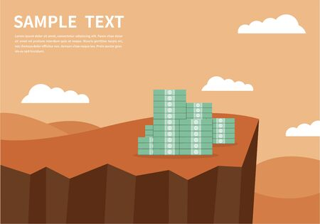 Banknote on the edge of a cliff. Business flat vector. Economy. Earn money. Financial success. Business. salary.