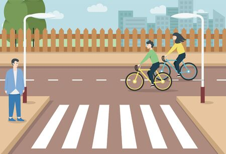 Man and Woman Characters Riding Bicycle in the City .Man crossing Road On Crosswalk .sidewalk, crosswalk and urban landscape vector illustration. Active People Enjoying Bike Ride in the city.