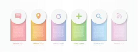 Modern vector infographic design. Template for process diagram, presentations, workflow layout, banner, flow chart, annual report, info graph. colorful gradient labels and icons.