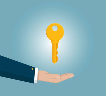 Businessmans hand holding key. Real estate, car sale, rent apartments or house concepts. flat design vector illustration isolated on blue background. Illustration
