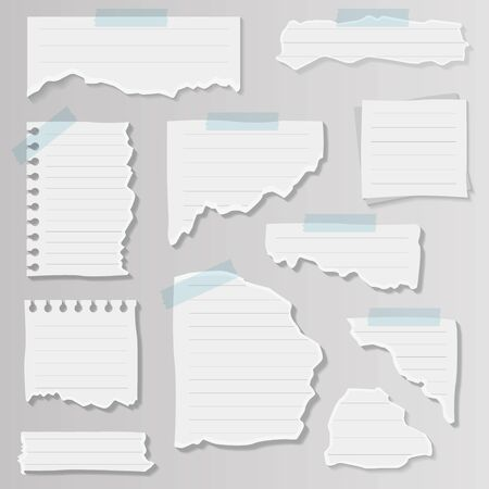 Paper notes on stickers, notepads and memo messages torn paper sheets. Texture page, textured memo sheet or notebook shred. Vector illustration isolated sign set.