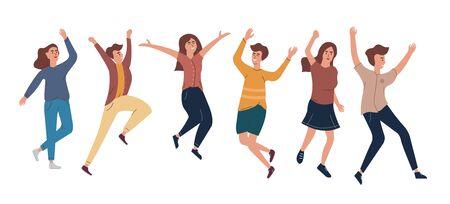 Colección de alegres hombres y mujeres saltando vestidos con ropa casual. El concepto de amistad, salud, felicidad, estilo de vida, joven, fiesta, éxito. Ilustración de vector de estilo plano.