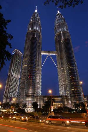 comtemporary: Night scene of Twin Tower in Kuala Lumpur, Malaysia Stock Photo