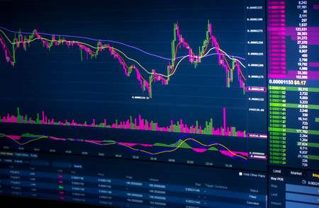 Stockmarket diagram and grah on displayscreen Reklamní fotografie