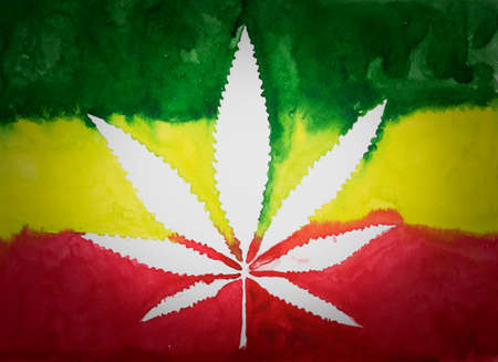 rastafarian: Negative space of cannabis leaf on  rastafarian flag background,watercolor