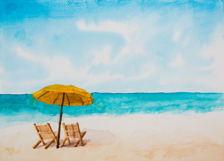 illustration and painting: Watercolor illustration,Beach.