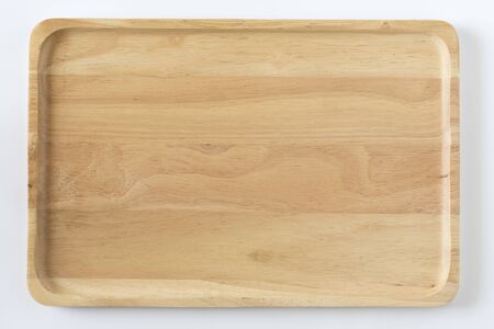Wooden tray top view 免版税图像