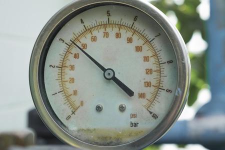 measuring instrument: Old pressure gauge, measuring instrument close up Stock Photo