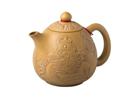 chinese tea pot: Earthenware Chinese tea pot isolate on white background