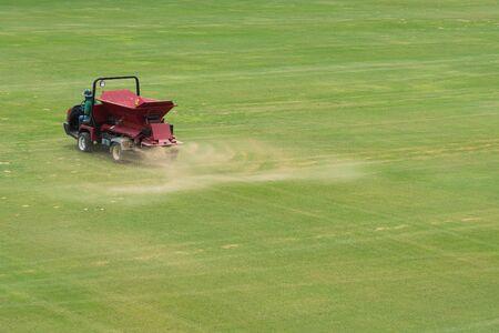 sand spray car Maintenance the football field.