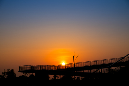 pedestrian bridge: Overpass walk way silhouette.