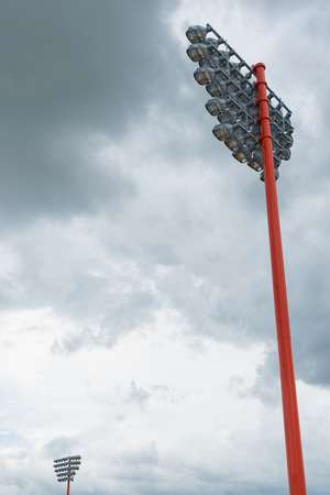 sport light pole with  sky and cloud background. Stock Photo