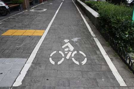 road bicycle brick logo icon Stock Photo