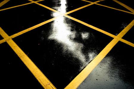 Rainy weather, warning sign on the highway, street. Symbol No Parking, Dim, Dangerous, Speeding, Drunk Driving, Warning. Stock Photo