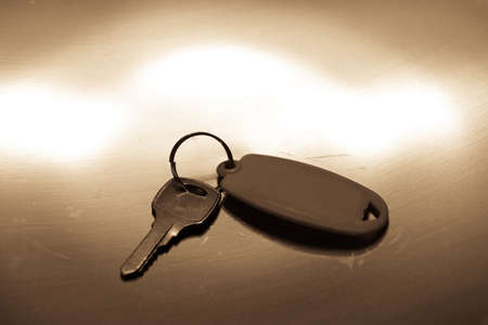 A silver key, on a golden gray metal background, a symbol of safety, key, owner.