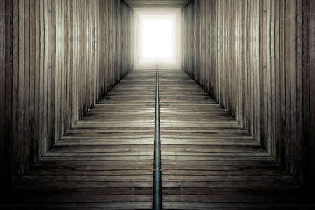 Mysterious tunnel.There is light at the end. Imagens