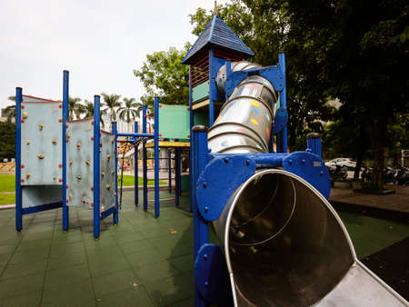 In the morning, amusement equipments in the park. In Asia. Colorful playground for kids. Banque d'images