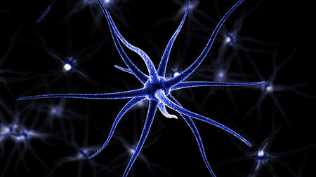 3D Rendering of neuron on black background. The background is blurred and the focus is on the front.