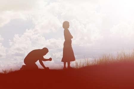 fille pleure: Couple silhouette briser une relation
