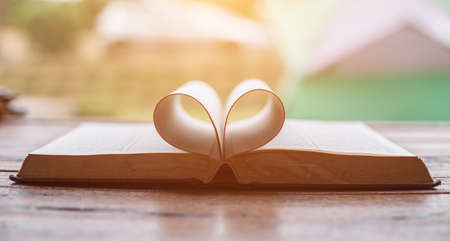 book pages heart Stock Photo