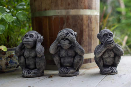 The three wise monkey, three mystic apes(see no evil, hear no evil, speak no evil) Stock Photo