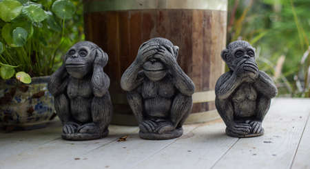 The three wise monkey, three mystic apes(see no evil, hear no evil, speak no evil) Stock Photo