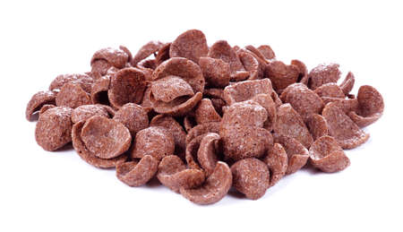 Chocolate breakfast cereal on isolate white background Imagens