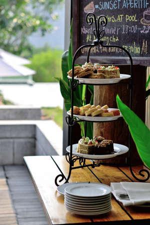 Dessert for high tea or afternoon tea set