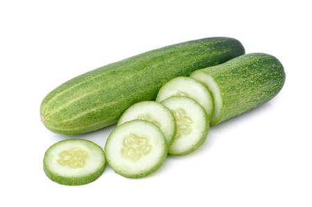 Cucumber sliced isolated on white background