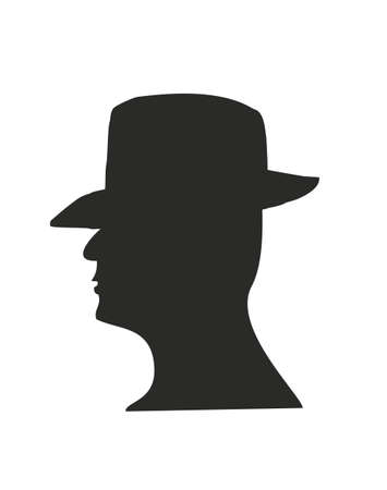 dark face: Man vector face profile silhouette