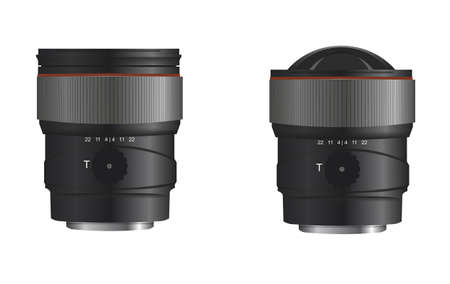 telephoto: Two black lens on a white background