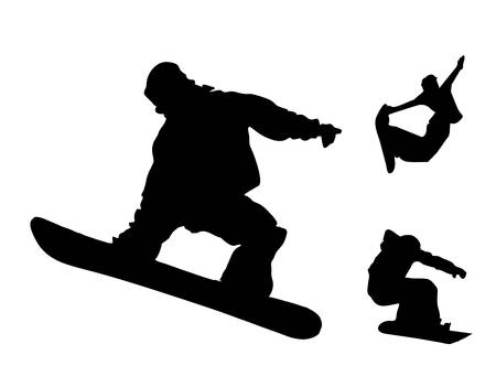snowboarder jumping: Snowboard black silhouette collection - vector