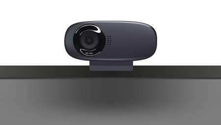 Web camera on a monitor in the vector drawn Vector