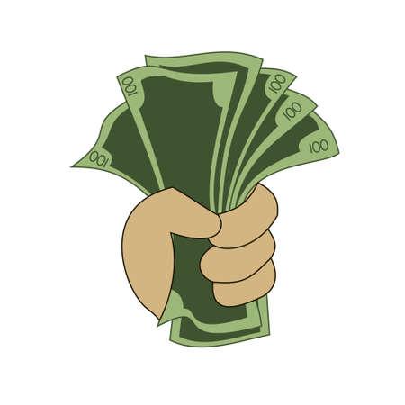 Une main tenant une pile d'argent Vecteurs