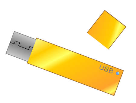 computer dancing: USB flash yellow card with cap Illustration