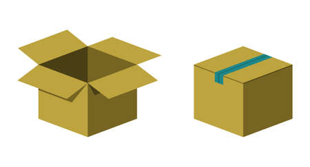 unpacking: Open and closed cardboard boxes