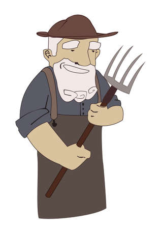 Farmer with a pitchfork in a hat Vector