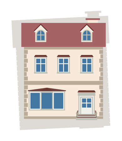 two story: Beige two-story house on a white background