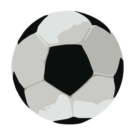 Illustrated black and white soccer ball on a white background Illustration