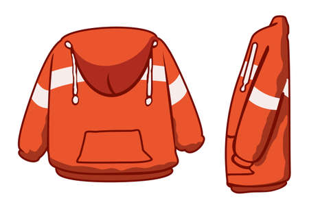 encapuchado: Chaqueta con capucha de color naranja con rayas Vectores