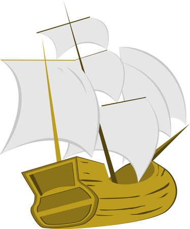 brigantine: Ship coloring on a white background