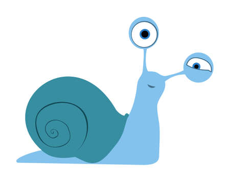 cartoon snail: Snail with shell on white background